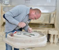 Hand Carving a Stone Bath Raiser