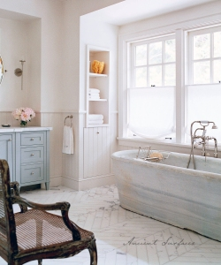 Antique Patina on a Hand Carved Marble Bath Tub