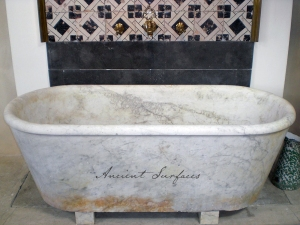 Antique Mabrle Bath Tub with Ancient Patina