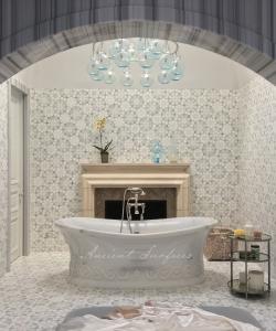 Stylistic Carrara Bath Tub with a Greek Wave Motif