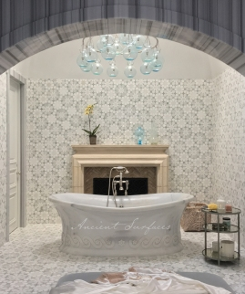Stylistic Carrara Bath Tub with a Greek Wave Motif