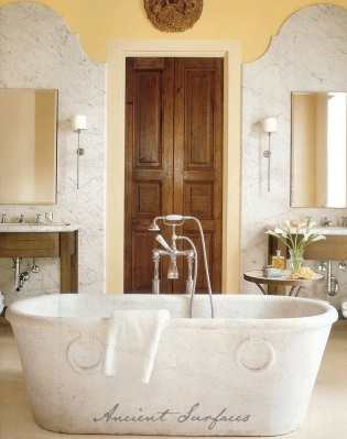 A Hand Carved Marble Bath Tub